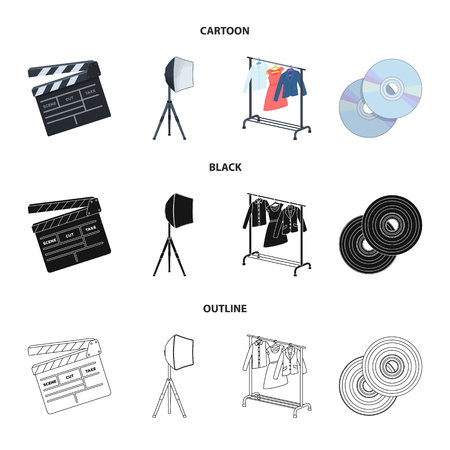 Movies, discs and other equipment for the cinema. Making movies set collection icons in cartoon,black,outline style vector symbol stock illustration web. Illustration