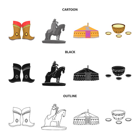 Military boots, a monument to the rider, a national tent, a milk drink. Mongolia set collection icons in cartoon,black,outline style vector symbol stock illustration web.