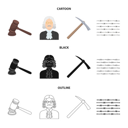 Judge, wooden hammer, barbed wire, pickaxe. Prison set collection icons in cartoon,black,outline style vector symbol stock illustration web. Illustration
