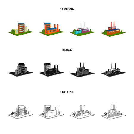 Processing factory,metallurgical plant. Factory and industry set collection icons in cartoon,black,outline style isometric vector symbol stock illustration web. Фото со стока - 103630426