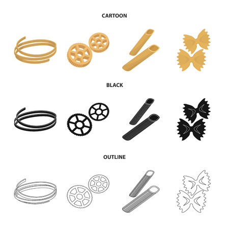 Different types of pasta. Types of pasta set collection icons in cartoon,black,outline style vector symbol stock illustration web.
