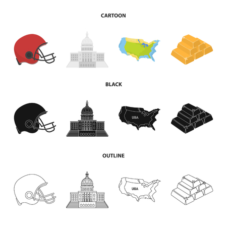 Football player helmet, capitol, territory map, gold and foreign exchange. USA Acountry set collection icons in cartoon,black,outline style vector symbol stock illustration web.  イラスト・ベクター素材