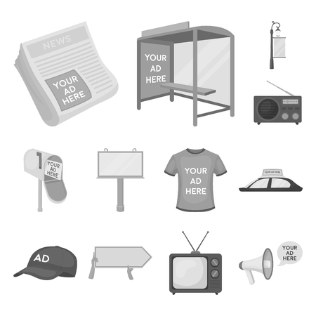 Production of advertising monochrome icons in set collection for design. Advertising equipment vector symbol stock web illustration.