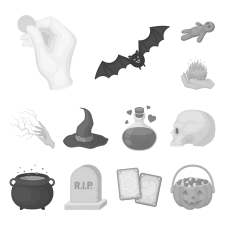 Black and white magic monochrome icons in set collection for design. Attributes and sorceress accessories vector symbol stock web illustration. Illustration