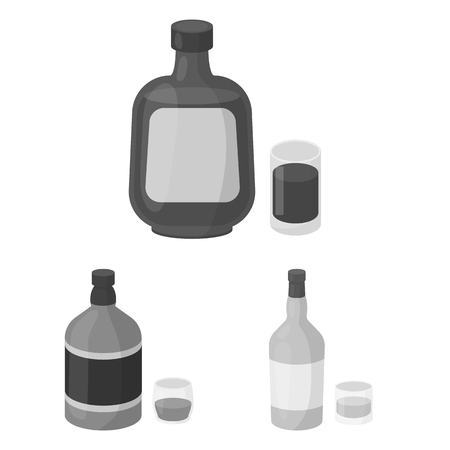 Types of alcohol monochrome icons in set collection for design. Alcohol in bottles vector symbol stock web illustration. 일러스트