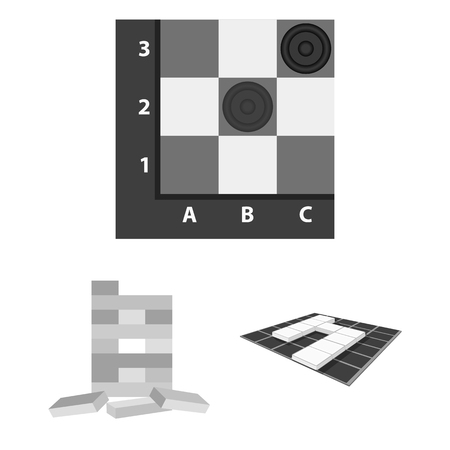 Board game monochrome icons in set collection for design. Game and entertainment vector symbol stock web illustration. Illustration