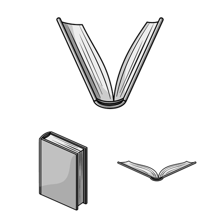 Book bound monochrome icons in set collection for design. Printed products vector symbol stock web illustration.