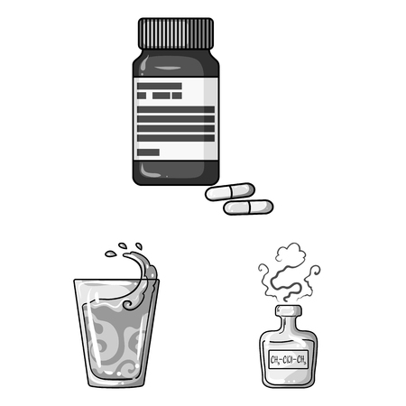 Diabetes monochrome icons in set collection for design. Treatment of diabetes vector symbol stock web illustration.