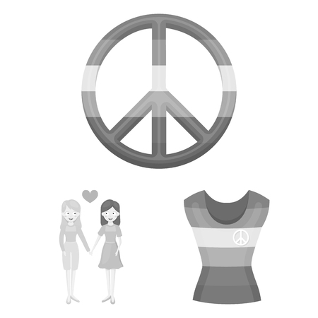 Gay and lesbian monochrome icons in set collection for design.Sexual minority and attributes vector symbol stock web illustration.
