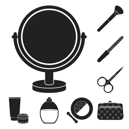Makeup and cosmetics black icons in set collection for design. Makeup and equipment vector symbol stock web illustration.