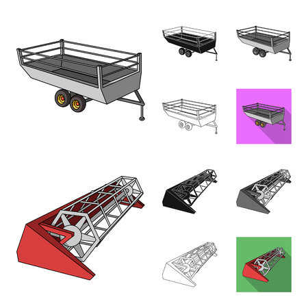 Agricultural machinery cartoon,black,flat,monochrome,outline icons in set collection for design. Equipment and device vector symbol stock web illustration. Vectores