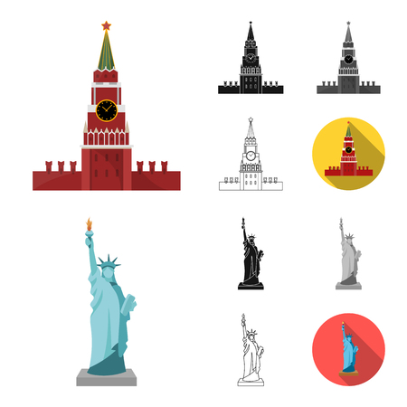 Sights of different countries cartoon,black,flat,monochrome,outline icons in set collection for design. Famous building vector symbol stock web illustration.