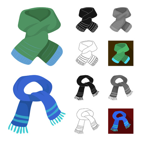 Scarf and Shawl cartoon,black,flat,monochrome,outline icons in set collection for design.Clothes and Accessory vector symbol stock web illustration.