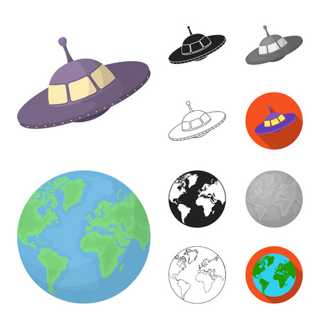 Space technology cartoon,black,flat,monochrome,outline icons in set collection for design.Spacecraft and equipment vector symbol stock web illustration.