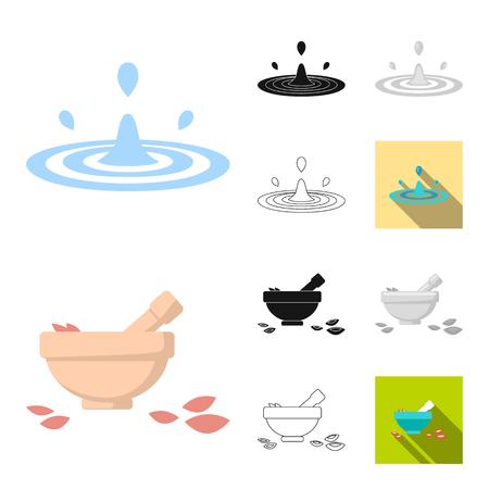 Spa salon et équipement de dessin animé, noir, plat, monochrome, icônes de contour dans la collection de jeu pour la conception. Détente et repos vector illustration web stock symbole.