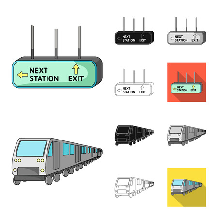 Metro, subway cartoon,black,flat,monochrome,outline icons in set collection for design.Urban transport vector symbol stock web illustration. Illustration
