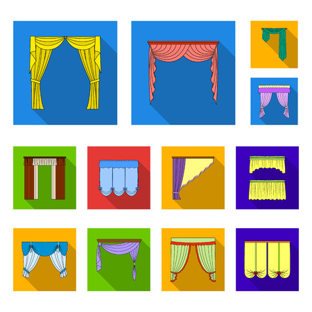 Different kinds of curtains flat icons in set collection for design. Curtains and lambrequins vector symbol stock web illustration.