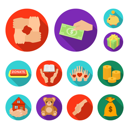 Charity and donation flat icons in set collection for design. Material aid vector symbol stock web illustration.