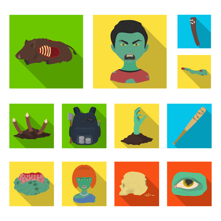 Zombies and Attributes flat icons in set collection for design. Dead man vector symbol stock web illustration.