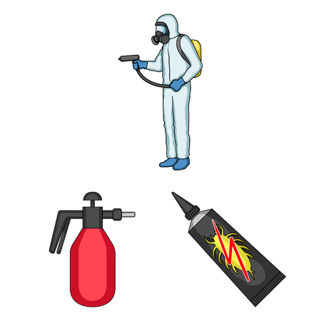 Pest, poison, personnel and equipment cartoon icons in set collection for design. Pest control service vector symbol stock  illustration.