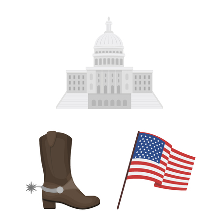 USA country cartoon icons in set collection for design.Travel and attractions vector symbol stock  illustration. Ilustração