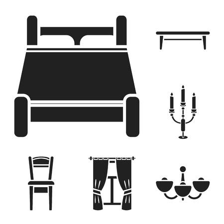 Furniture and interior black icons in set collection for design.Home furniture vector symbol stock  illustration. Illustration