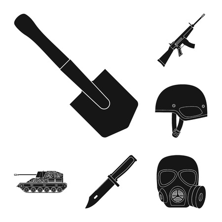 Army and armament black icons in set collection for design. Weapons and equipment vector symbol stock  illustration. Vectores