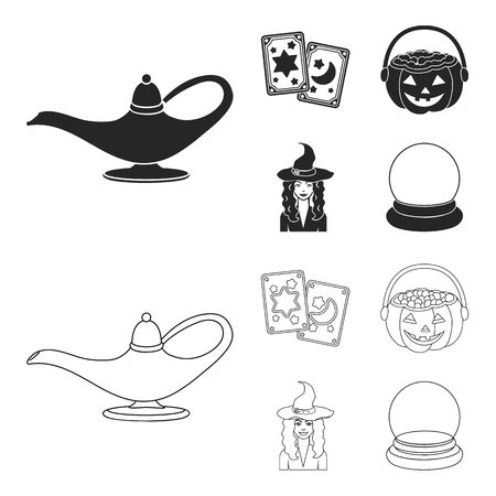 Tarot cards, holiday halloween, magician in a hat, crystal ball.Black and white magic set collection icons in black,outline style vector symbol stock illustration . Ilustração