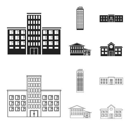 Skyscraper, police, hotel, school.Building set collection icons in black,outline style vector symbol stock illustration .