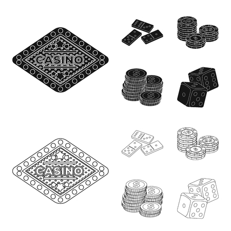 Domino bones, stack of chips, a pile of mont, playing blocks. Casino and gambling set collection icons in black,outline style vector symbol stock illustration . Stock Illustratie