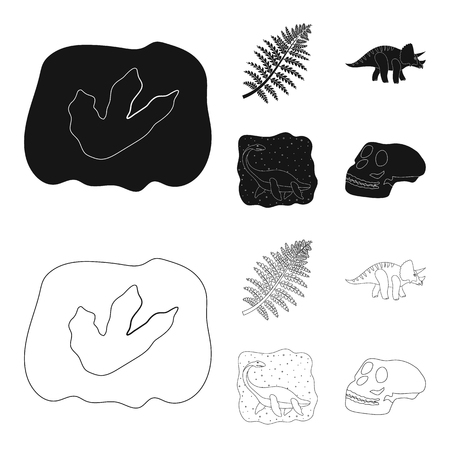 Sea dinosaur,triceratops, prehistoric plant, human skull. Dinosaur and prehistoric period set collection icons in black,outline style vector symbol stock illustration .