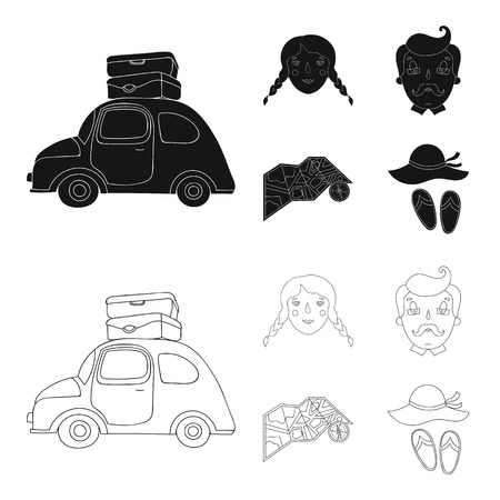 Travel, vacation, camping, map .Family holiday set collection icons in black,outline style vector symbol stock illustration .