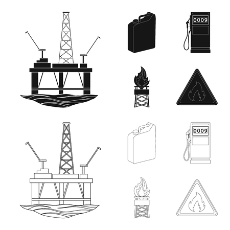 Canister for gasoline, gas station, tower, warning sign. Oil set collection icons in black,outline style vector symbol stock illustration .