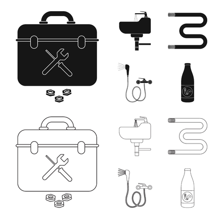 Washbasin, heated towel-dryer, mixer, showers and other equipment.Plumbing set collection icons in black,outline style vector symbol stock illustration .