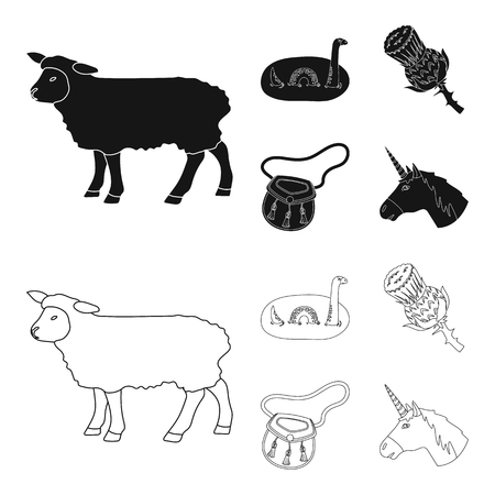 Loch Ness monster, thistle flower, unicorn, sporan. Scotland country set collection icons in black,outline style vector symbol stock illustration .