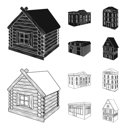 The museum building, a three-story hotel, a stable at the racecourse, a residential cottage. Architectural and building set collection icons in black,outline style vector symbol stock illustration .