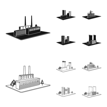 Processing factory,metallurgical plant. Factory and industry set collection icons in black,outline style isometric vector symbol stock illustration . Иллюстрация