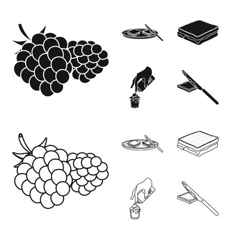 Dessert mit Sahne, einem Sandwich und anderem Essen. Lebensmittel Set Sammlung Ikonen in schwarz, Gliederung Stil Vektor Symbol Lager Illustration.