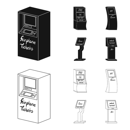 Medical terminal, ATM for payment,apparatus for queue,. Terminals set collection icons in black,outline style isometric vector symbol stock illustration . 矢量图像