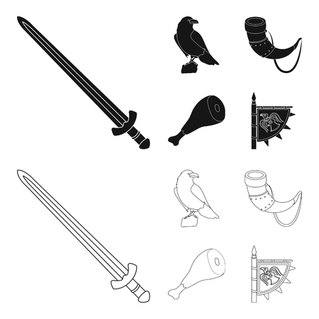 Sitting crow, horn with drink, ham, victory flag. Vikings set collection icons in black,outline style vector symbol stock illustration .