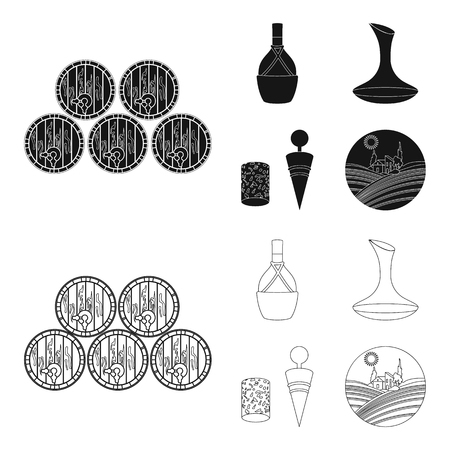 A bottle of wine in a basket, a gafine, a corkscrew with a cork, a grape valley. Wine production set collection icons in black,outline style vector symbol stock illustration . Foto de archivo - 103820945