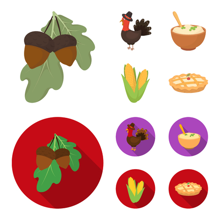 Acorns, corn.arthene puree, festive turkey,Canada thanksgiving day set collection icons in cartoon,flat style vector symbol stock illustration .