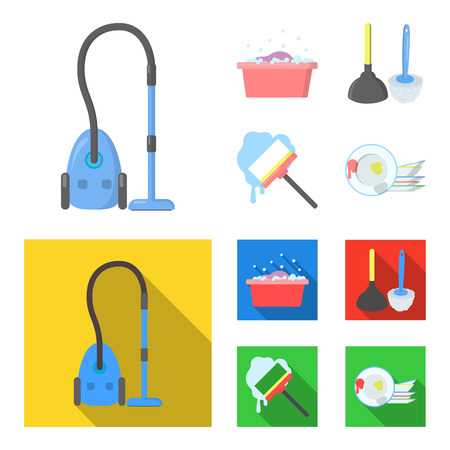 Cleaning and maid cartoon,flat icons in set collection for design. Equipment for cleaning vector symbol stock  illustration.