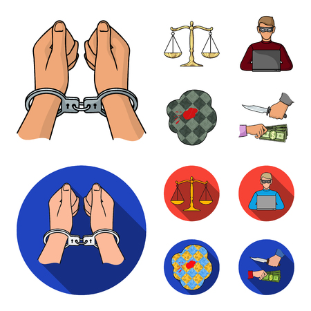 Handcuffs, scales of justice, hacker, crime scene.Crime set collection icons in cartoon,flat style vector symbol stock illustration .