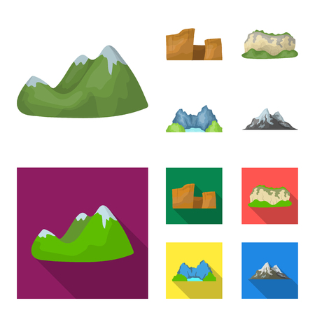 Green mountains with snow tops, a canyon, rocks with forests, a lagoon and rocks. Different mountains set collection icons in cartoon,flat style vector symbol stock illustration . Illustration
