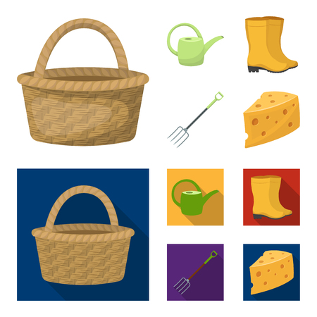 Basket wicker, watering can for irrigation, rubber boots, forks. Farm and gardening set collection icons in cartoon,flat style vector symbol stock illustration .  イラスト・ベクター素材