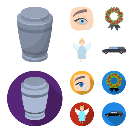 The urn with the ashes of the deceased, the tears of sorrow for the deceased at the funeral, the mourning wreath, the angel of death. Funeral ceremony set collection icons in cartoon,flat style vector symbol stock illustration . Vectores