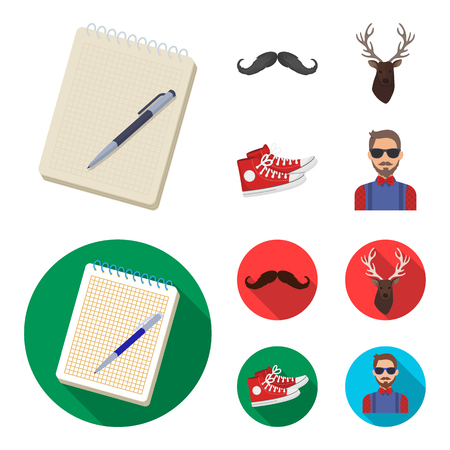 Hipster, fashion, style, subculture .Hipster style set collection icons in cartoon,flat style vector symbol stock illustration .