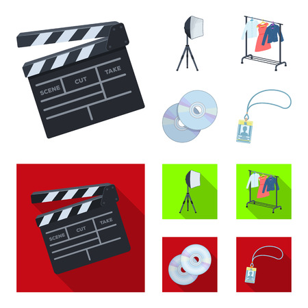 Movies, discs and other equipment for the cinema. Making movies set collection icons in cartoon,flat style vector symbol stock illustration .