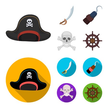 Pirate, bandit, cap, hook .Pirates set collection icons in cartoon,flat style vector symbol stock illustration .